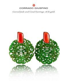 Corrado Giuspino jade and coral earrings