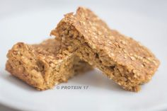 Spiced Pumpkin Bars - 2 scoops Protein 17, 3 organic egg whites, 1 1/2 cups organic breakfast oats, 1 cup organic pumpkin, 2 tsp organic baking powder, 1/2 tsp organic ground nutmeg, 1 tsp organic ground ginger, and 1 tsp organic mixed spice.