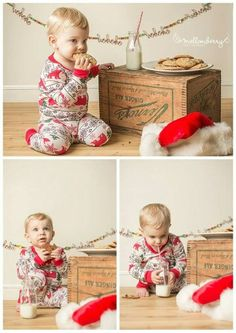 Studio Christmas mini session, baby, toddler, kids, milk and cookies, waiting for Santa, pjs