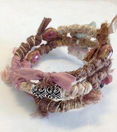 Boho Wrap Bracelet - Pink & Brown - Sari Silk Ribbon - Butterfly Bracelet