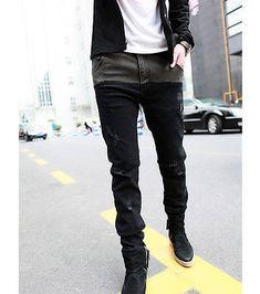 Hot Mens Jeans Skinny Straight Fit Pencil Pants Feet Trousers Fashion Korean | eBay