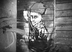 https://flic.kr/p/poLAEX   RNST street art kid fronde stencil   #OpFreeStreetArt