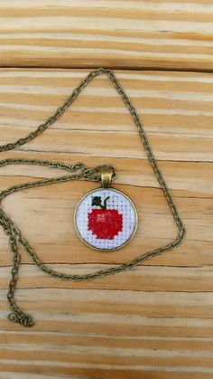 Cross stitched apple necklace teacher gift by mydisheveledducks