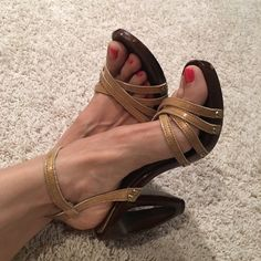 Charles David heel sandals! Unique Charles David heel sandals! Some wear inside and on heel-see pictures! Size 7- true to size Charles David Shoes Heels