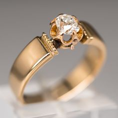Old Mine Diamond Victorian Engagement Ring 18K Gold 1876
