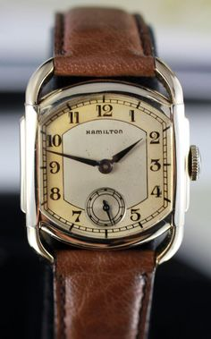 Vintage Watches Hamilton Bagley Art Deco Watch Circa 1939 with Hamilton Presentation from vintagewatches on Ruby Lane - Old Watches, Antique Watches, Vintage Watches For Men, Luxury Watches For Men, Art Deco Jewelry, Vintage Jewelry, Art Deco Watch, Unique Wedding Bands, Wedding Ring