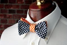 cfcf439d4dfb Orange and Navy Reversable Bow Tie Tied Hands, Tie Styles, Types Of Fashion  Styles