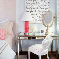 Glass Desk, Mirror and Shabby Chic Chair with Pop of Color Lamp, Female Desk and Office