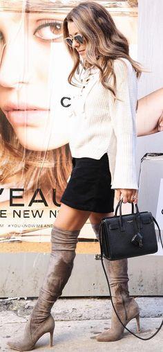 #cute #outfits White Bow Blouse // Black Skirt // Velvet Knee High Boots