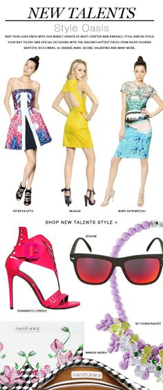 Refresh your look with summer styles from the hottest emerging designers.  Bright colors, unique cuts and must-have prints by Peter Pilotto, Mugler, Mary Katrantzou add an unexpected twist to any wardrobe.