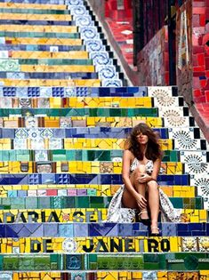 Escadaria Selaron with a gracious woman. Staircase Selaron with a gracious woman. Brazil Vacation, Brazil Travel, Most Beautiful Cities, Beautiful World, Places To Travel, Places To Go, Rio Photos, Rock In Rio, Beach Trip