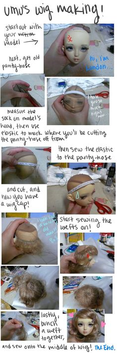 Tutorial for sewing elastic and pantyhose for a doll wig cap.