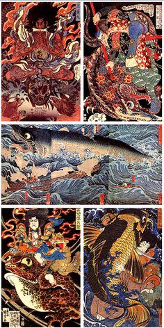 Utagawa Kuniyoshi.............One of my favorite classic Ukiyo-e  artist.  His textures are incredible.