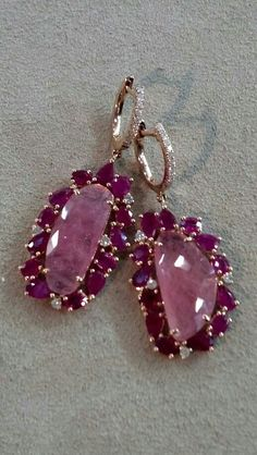 Pink Sapphire Slice and Ruby Edge Earrings with Diamond Accents, set in 18kt Gold. #earrings #fashion