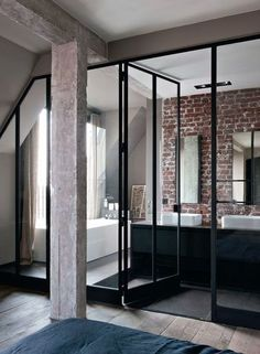 Industrial Paris Loft With Views Over The City - Gravity - Luxury Interior Design Bad Inspiration, Bathroom Inspiration, Bathroom Inspo, Design Bathroom, Bathroom Layout, Inspiration Boards, Bathroom Ideas, Style At Home, Interior Architecture