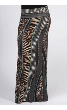 Multi-print maxi skirt with banded waist -Apostolic Clothing Co.