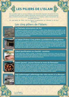 "Islam - The Five Pillars of Islam (""pillars of the religion"") are five basic acts in Islam, considered mandatory by believers and are the foundation of Muslim life. They are summarized in the famous hadith of Gabriel. Allah Islam, Islam Muslim, Islam Quran, Islam Hadith, Alhamdulillah, Pillars Of Islam, 5 Pillars, Prophets In Islam, Islamic Posters"