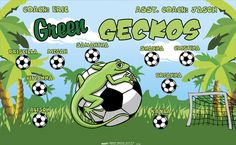 Green Geckos digitally printed vinyl Soccer sports team banner. Made in the USA and shipped fast by Banners USA. http://www.bannersusa.com/art/templates_2/digital/banners/VBS_BB_banners.php