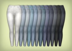 Long time no see! Anyways, this is a set of shorts, skinnies and cuffed jeans, in 12 colors each. All of them have a waist matching the Maxis tuck-line (or whatever it should be called?). The skinnies...
