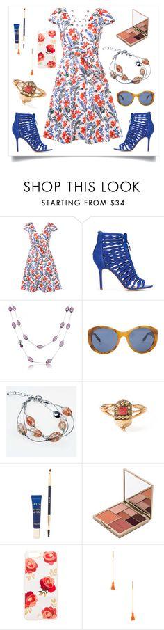 """Floral Cap Sleeve Dress..**"" by yagna ❤ liked on Polyvore featuring Carolina Herrera, Sam Edelman, Antica Murrina, Victoria Beckham, Daniela Villegas, Stila, Sonix, CAM and vintage"