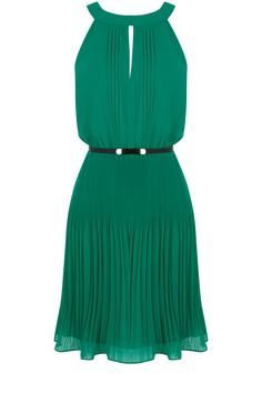 Green Pleat Belted Dress
