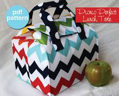 Picnic Perfect Lunch Tote - PDF Sewing Pattern - Bento Box Carrier by binskistudio Sewing Hacks, Sewing Tutorials, Sewing Crafts, Sewing Projects, Box Couture, Sac Lunch, Boite A Lunch, Insulated Lunch Bags, Tote Pattern