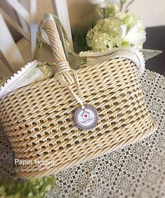Egg Basket, Easter Baskets, Wedding Gift Baskets, Wedding Gifts, Wicker Picnic Basket, Market Baskets, Paper Houses, Flower Basket, Rattan
