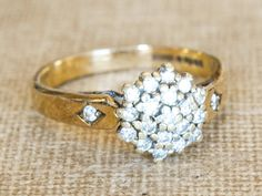 Diamond Cluster Ring, Vintage Engagement Ring, 9k Yellow Gold Diamond Promise Ring, Flower Diamond Wedding Band, Art Deco Ring