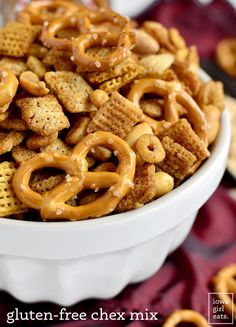 Gluten-Free Chex Mix is salty, crunchy, and totally addicting. Just like the original, only gluten-free – easily made dairy-free, too! | iowagirleats.com