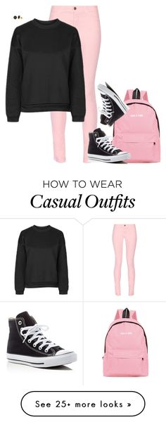 """""""Converse"""" by tina-pieterse on Polyvore featuring Maison Kitsuné, Topshop, Converse and H.Azeem"""