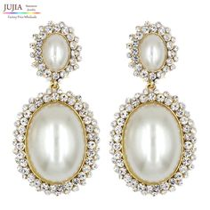 2017 New statement fashion crystal simulated pearl earrings stud Earrings for party wedding big earring