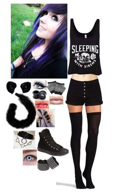 """Meow"" by kylaamador ❤ liked on Polyvore featuring Forever 21, Commando, Converse and Adela Romero"