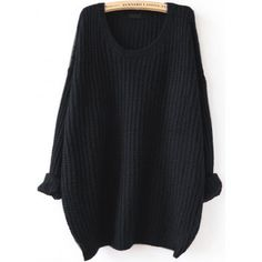 Black Drop Shoulder Textured Sweater (€19) ❤ liked on Polyvore featuring tops, sweaters, shirts, sweatshirts, black, extra long sleeve sweater, acrylic sweater, pullover sweater, long sleeve tops and long sleeve sweater