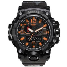 SMAEL Brand Watches Men Dual Time Camouflage Military Watch Army LED Digital Wristwatch 50M Waterproof S Shock Men Clock 1545B