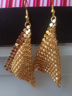 Earrings - Metalic Gold chainmail mesh earrings ~ handcut chainmail ~ drop earrings ~ fashion jewellery ~ costume jewellery by Nerdacious on Etsy