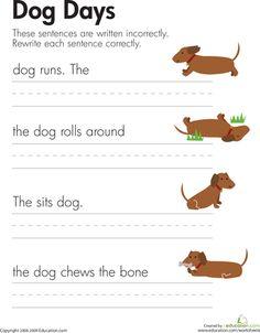 Worksheets: Fix the Sentences: Dog Days