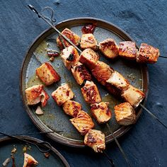 Maple-Dijon Salmon Skewers | These delectable salmon skewers from Ali Banks require just five ingredients and 30 minutes to make.