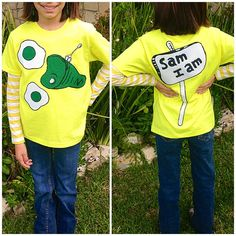Green Eggs and Ham / Sam I am shirt. Materials used: $4 Walmart boys Hanes shirt, white, green & red (made a red bow headband) felt fabric, white & black puffy paint, made template out of card stock paper & my trusty glue gun to put it together. Cost under $8 to make. #greeneggsandham #samiam