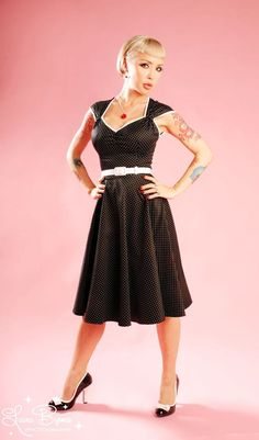 Beautiful retro A-line style polka dot dress Heidi Dress in Black Pin Dot  by Pinup Couture dff90b19889