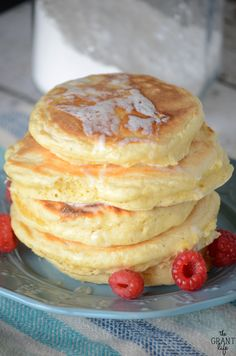 Homemade fluffy pancake mix! These pancakes cook up so fluffy and soft!