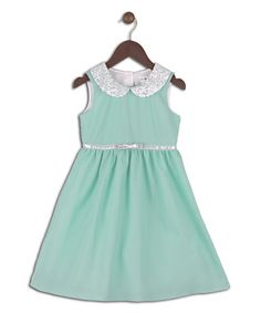 Another great find on #zulily! Mint Sequin Peter Pan Collar Dress - Toddler & Girls by Joe-Ella #zulilyfinds