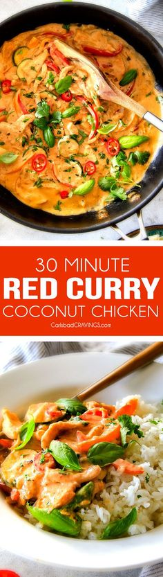 This less than 30 MINUTE Thai Red Curry Chicken tastes straight out of a restaurant! Its wonderfully thick and creamy, bursting with flavor, so easy and all in one pot! Definitely a new fav at our house! via @carlsbadcraving