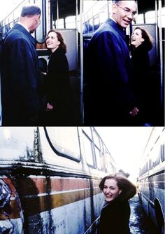 The Adorable Gillian Anderson and Mitch Pileggi behind the scenes of 4x08 Paper Hearts