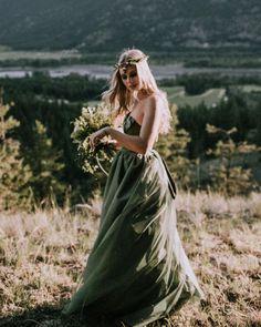 27 Colourful Wedding Dresses For Non-Traditional Bride ❤ colourful wedding dresses green a line country natalieskyphotography #weddingforward #wedding #bride #weddingoutfit #bridaloutfit #weddinggown