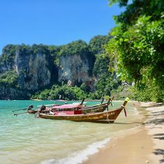 thailand travel - CLICK Visit link for more details Thailand Honeymoon, Krabi Thailand, Thailand Travel, Railay Beach, Crystal Clear Water, Most Beautiful Beaches, Top Destinations, Turquoise Water, Southeast Asia