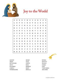 This puzzle features words from the biblical story of Christmas.  It is one of many free, printable Christmas word searches you will find in our collection.