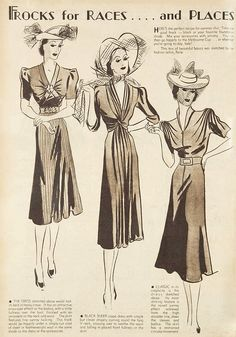 """1930s fashions """"For the Races ... and Places."""" From The Australian Women's Weekly, 29 October 1938."""