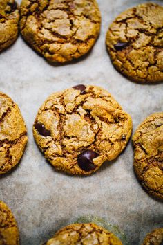chocolate chip cashew butter cookies with turmeric, teff, and dried apple | vegan and gluten free recipe via willfrolicforfood.com