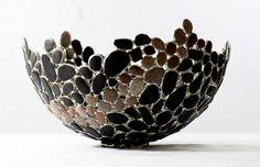 Sea Coal and Beach Pebble Stained Glass Bowl, Sea Glass Art