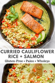 Curried Cauliflower Rice Seared Salmon (Paleo - a quick and delicious meal that comes together easily and quickly! Curried Cauliflower Rice Seared Salmon (Paleo - a quick and delicious meal that comes together easily and quickly! Salmon Recipes, Fish Recipes, Seafood Recipes, Asian Recipes, Curried Cauliflower, Cauliflower Recipes, Gluten Free Meal Plan, Healthy Dinner Recipes, Paleo Menu